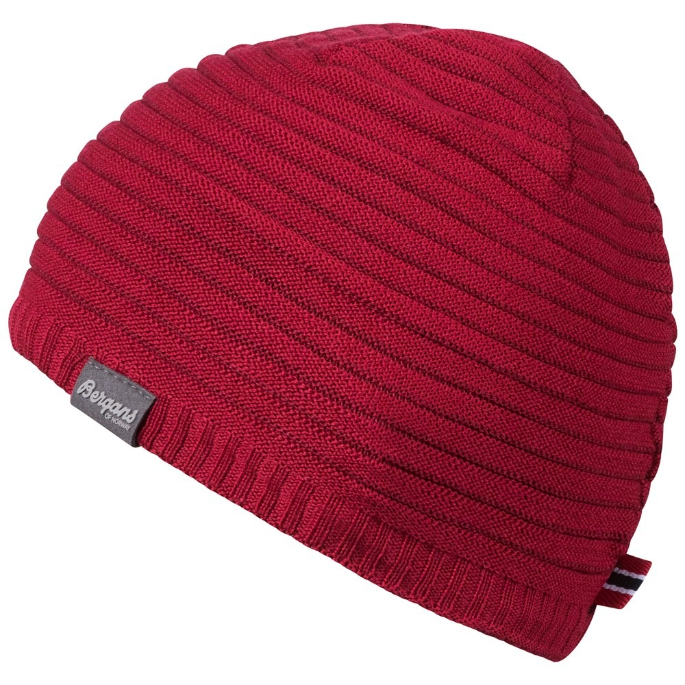 Caciula cu lana Merinos Bergans Striped - Rosu