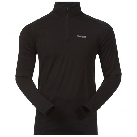 Bluza de corp 100% Lana Merino Bergans Fjellrapp Half Zip - Negru