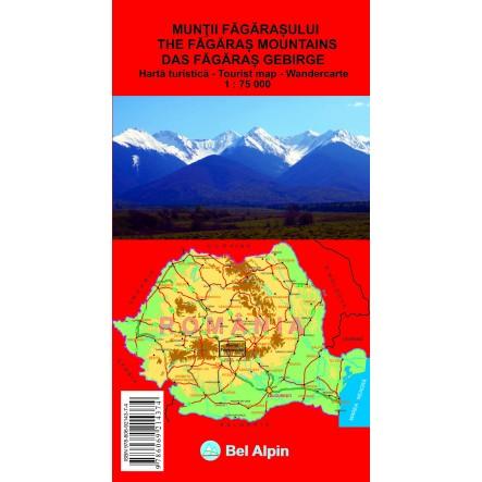 Harta Muntii Fagarasului - harta, ture munte, echipament munte, echipament montan la proalpin.ro