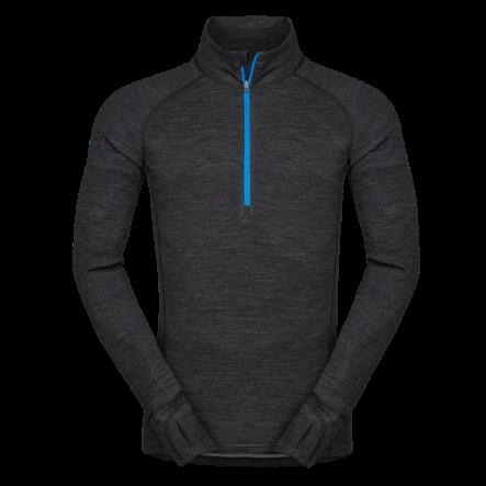 Bluza de corp din lana merino ZAJO Bergen Half Zip - Negru