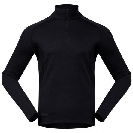 Bluza de corp 100% Lana Merino Bergans Snoull Half Zip - Negru