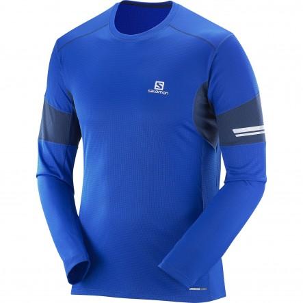 Bluza alergare Salomon Agile Ls-Albastru