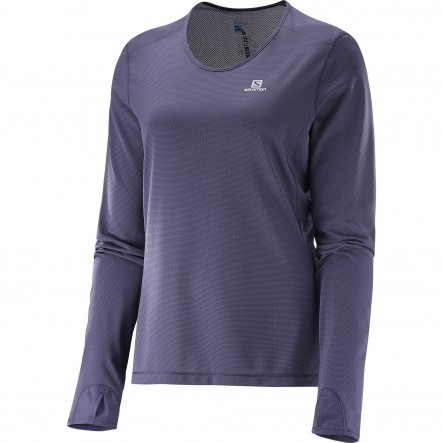 Bluza alergare Salomon Trail Runner Ls-Navy