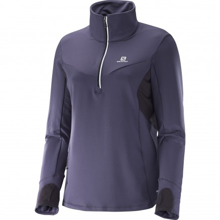 Bluza alergare Salomon Trail Runner Warm Mid-Gri