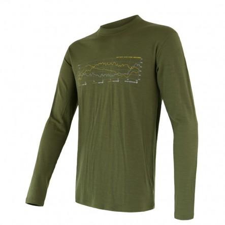 Bluza de corp barbati Sensor 100% lana Merinos Active Safari Track - Green