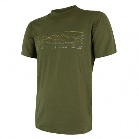 Tricou barbati Sensor 100% lana Merinos Active Safari Track - Green