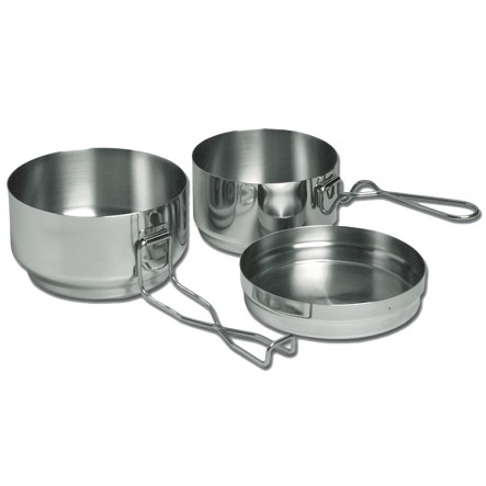 Set Vase Camping Alb 3 piece Mess-Tin inox
