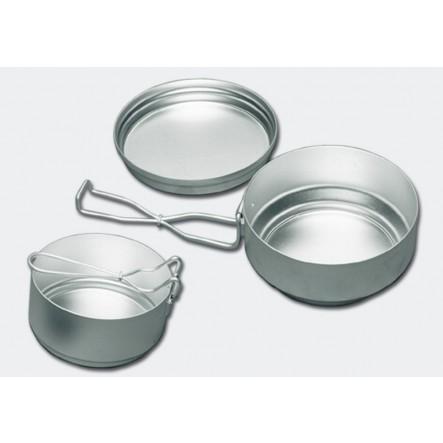 """Set vase camping ALB 3 piese """"Mess-tin set"""" aluminiu"""