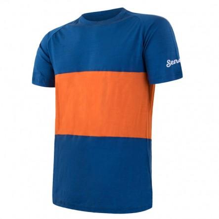 Tricou barbati Sensor lana Merinos Air - Blue / Orange