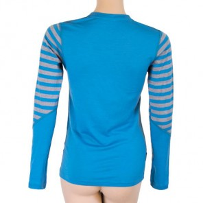 Bluza de corp femei Sensor 100% lana Merinos Active Blu/Gry Stripes