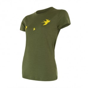 Tricou femei Sensor 100% lana Merinos Active Safari Swallow - Green