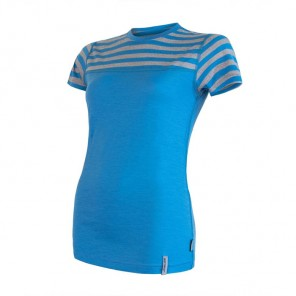 Tricou femei Sensor 100% lana Merinos Active Stripes - Blue / Gray