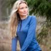 Bluza de corp 100% lana Merinos Bergans Henley Wool Lady - Riviera Blue