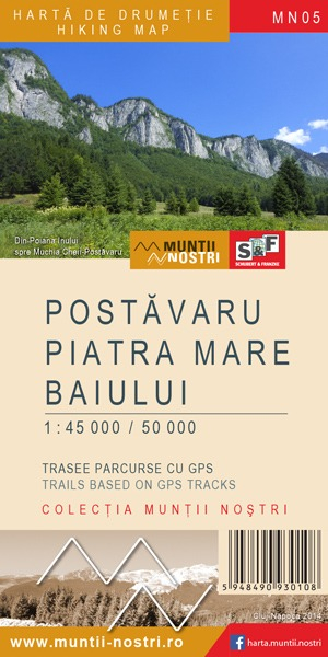 Harta de drumetie Postavaru, Piatra Mare si Baiului - Muntii Nostri